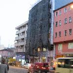 The hotel's facade under refurbishment