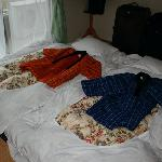 the beds we had to make ourselves with traditional yukatans on them