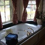 Jacuzzi bathtub & bay windows.