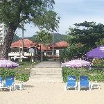 a view of the hotel from the beach