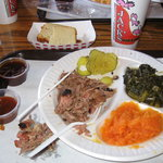Chopped brisket dinner with greens and sweet potatoes