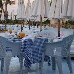 Abendessen am Pool