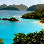 View of Trunk Bay- gets crowded with cruise ship visitors in the afternoon.