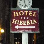 Sign for the Hiberia Hotel-Note how A/C is the major selling point