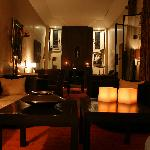 The riad's lounge room at night