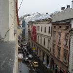 View up the street, the last car is where the market square starts