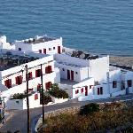 The Artemis is the white building with red shutters