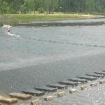 Children playing on the spillway - it is slippery!