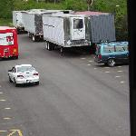 Cluster of trucks as viewed from our window
