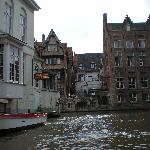 Hotel terrace from canal tour boat