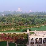 View from room with Taj Mahal in the distance