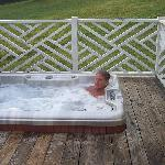 Relaxing in the hot tub on the back deck.