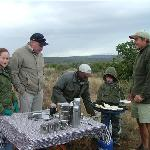 Siya & Brandon our guides with Taryn-Maie and Tristan - Making Crumpets in the bush