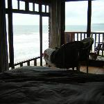 The view from the bed to the Sea - the photo is a little dark but the room was lighter