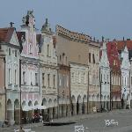 Colorful buildings in Telc's main square