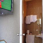 The tv and bathroom
