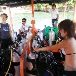 Off diving, Reiko the owner on the left