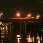 Night view of freeway bridge over river