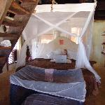 King bed and stairs to loft