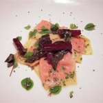 Goat Cheese Ravioli with Bull Blood Beets