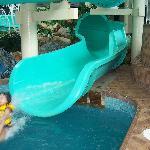 flying down the waterslide!