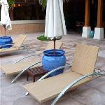 deck chairs at pool