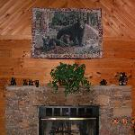 the fireplace area