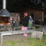 roasting of marshmellows around the communal firepit