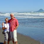 Us on Ohope Beach with Whale island in the distance
