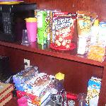 Our Kitchenette area stocked with snacks