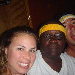 Us watching the Laker game with Flloyd (he's a sports nut)