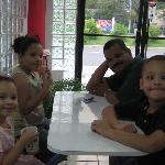 Jimmy and his kids as we all eat ice cream at kob's.