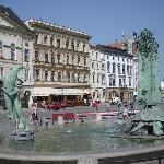 Beautiful fountain in Olomouc main square