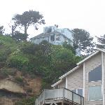 The Hideaway Motel from the ocean shore