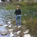 My wife fishing - hike up the creek for more pools where native fish are, German Browns, Brookie