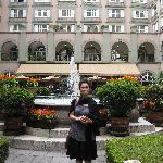 My beautiful wife in the hotel courtyard