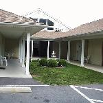 Rooms surround a courtyard in this section of Rocky River Motel