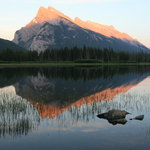Mount Rundle and reflections at Vermillion Lake