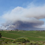 view from hill looking towards Watsonville - on fire at the time of our visit