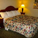 A nice bed and nice bedding.