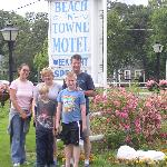 Our family in front of the sign