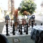 kids playing chess at the pool bar