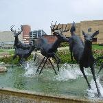 Running deer fountain