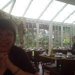 My Wife enjoying breakfast in spacious surroundings.