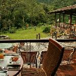 Outside tables in restaurant