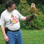 This is me with 'Stomper,' a two-year old barn owl.