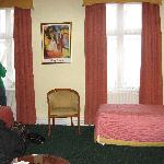 Rm 103(?) view of the window and 2 of the beds (desk, closet, and tv out of sight to the right)