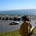 A view of the ocean from the path to the uppermost parking area across from the site