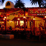 Jolly Boy Saloon lit up at night