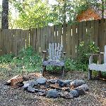 The fire pit and chairs